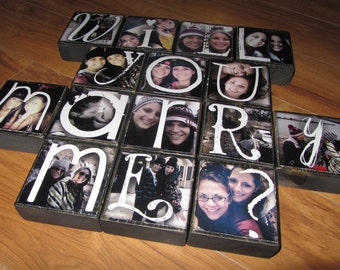 WILL YoU MARRY ME? Personalized Photo Blocks- PRoPOSE with PiCTURES of you and your sweetheart