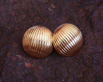 Monet Earrings, Vintage MONET Gold Tone Round Pierced Earrings, Monet Jewelry