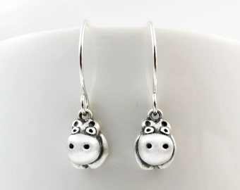 Very tiny hippo earrings, sterling silver hippo jewelry