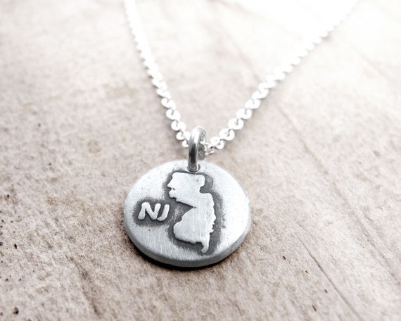 tiny new jersey necklace silver state jewelry map pendant