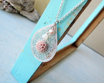 Vintage Dusty Pink Flower and Filligree Necklace