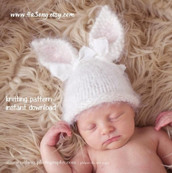 Baby Bunny Hat Knitting Pattern : Baby Bunny Hat Knitting Pattern PDF Number 124 INSTANT