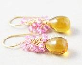 Yellow Quartz Dangle Earrings, Topaz Cluster Earrings, Pink Gemstone Earrings