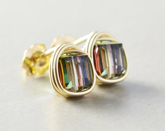 Square Studs, Swarovski Crystal Cube Posts, Multi Color Stud Post Earrings