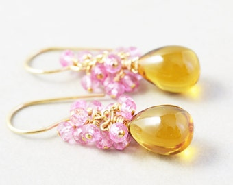 Yellow Quartz Dangle Earrings, Topaz Cluster Earrings, Pink Gemstone Earrings