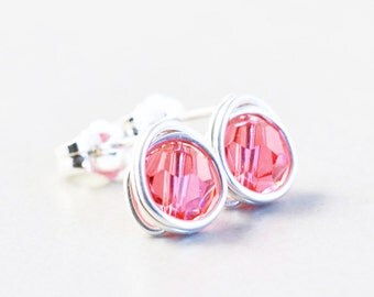 Salmon Post Earrings, Pink Studs, Swarovski Crystal Posts, Crystal Earrings