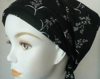 Black Springs of Flowers Cancer Hat Chemo Scarves Head Wrap Hair Loss Turban Headcovering Bad Hair Day Hat