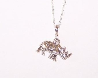 Sterling Silver 3D RHINO RHINOCEROS Pendant and Chain - Wildlife