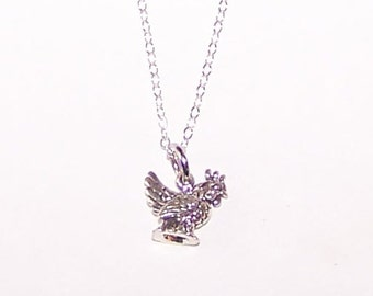 Sterling 3D HEN Pendant AND Chain - Chicken, Poultry, Bird