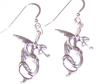 Sterling Silver DRAGON Earrings - Mystical, Fantasy, Celtic, Pagan, Totem