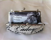 Bridal Clutch with handle with Photo LIning Wedding bridesmaid Clutch Personalized Custom with Inscription Je t'aime or your choice