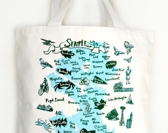 Seattle Neighborhood Screen Print Canvas Tote Bag