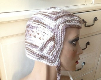 Boho Hippie Elf Whimsical Wool  Warm Freeform Crochet Beanie Hat
