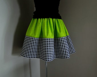 Kitschy Geometric, High Waisted Full Skirt, Checked Womens Skirt