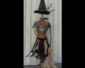 Halloween Witch Mannequin Dress Form PDF Pattern -  Pincushion Pin Keep email primitive pinkeep cushion