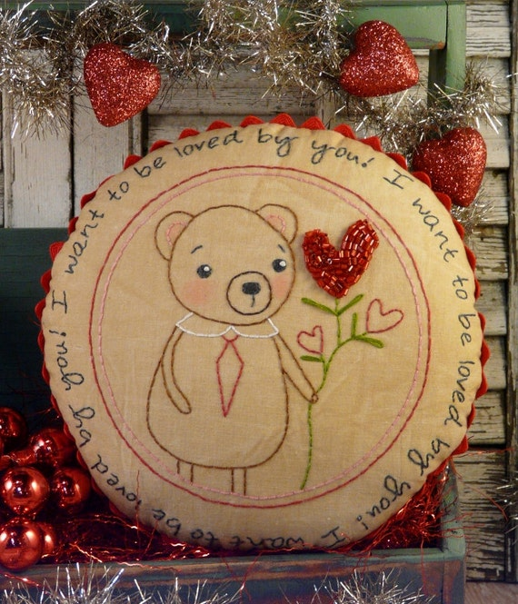 Valentine Teddy bear embroidery PDF Pattern - stitchery pillow LOVE red beads rick rack new vintage like heart primitive