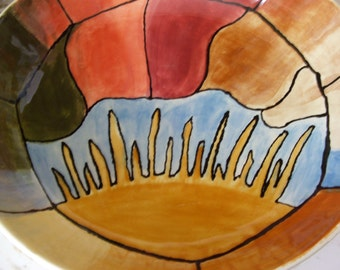 vintage handmade art pottery serving salad bowl SUNRISE by Carrie M