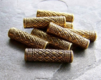 Vintage Antiqued Gold Etched Large Lucite Tube Beads-10