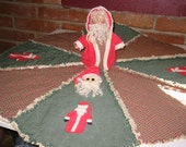 Rag Quilted Santa Treeskirt Set Epattern,  Downloadable Digital Pattern