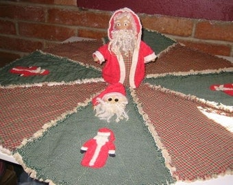 Rag Quilted Santa Treeskirt Set Epattern,  Downloadable Digital Pattern