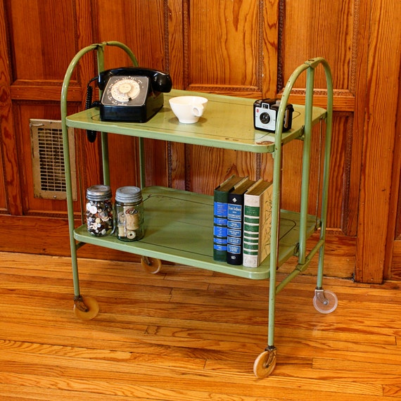Vintage Metal Cart Serving Cart Kitchen Cart Red: Vintage Cart Serving Cart Metal Cart Patio Cart Bar