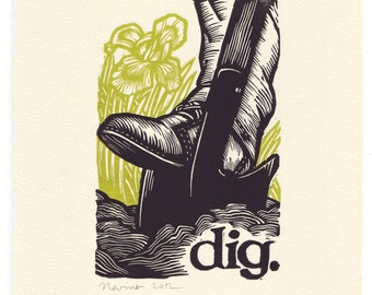 "7.5""x10"" dig. original linocut gardening block print on %100 cotton paper."