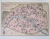 Vintage Style Pastel Paris Map Decorative Wrap and Craft Paper by Cavallini