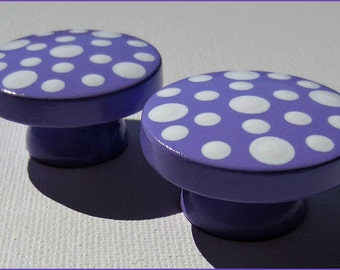 Hand Painted Knobs - Dresser Drawer - Polka Dots - Purple - Drawer Pulls - Kids Knobs - Polka Dot Knobs