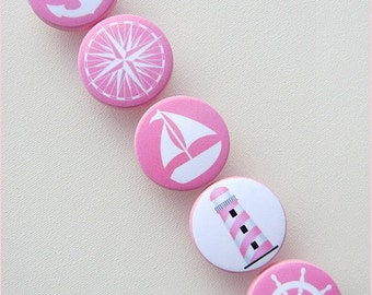Pink Nautical Drawer Knobs • Anchor Knobs • Lighthouse • Sailboat • Helm • Sailboat Knobs • Nautical Drawer Pulls • Wood Knobs