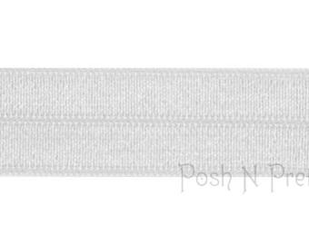 5 YARDS 5/8 inches Fold Over Elastics FOE - choose ONE - White