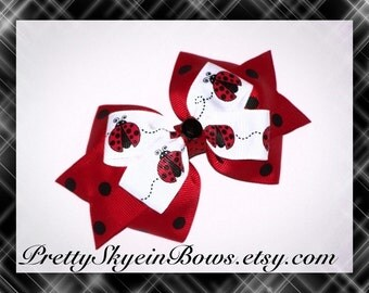 Medium Ladybug Layered Boutique Hair Bow Clip in Red, White, and Black