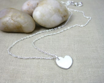 Small Heart Necklace Recycled Silver Sterling Silver Heart Jewelry - Heart of My Heart Small Heart