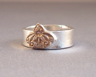 Ornate Gold on Wide Silver Band
