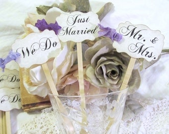 Wedding Tall Centerpiece Plant Floral Picks - Bridal Mix - Mr. & Mrs.  We Do  Just Married - Set of 18 - Choose Ribbons - Clearance Sale