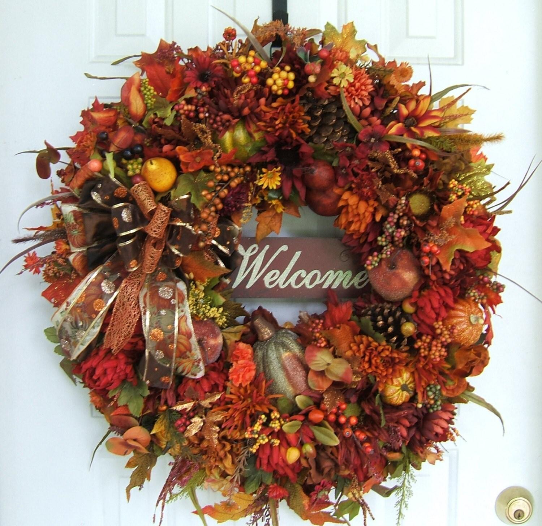 XL Stunning Autumn Wreath Welcome Wreath Thanksgiving