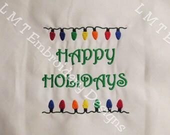 Happy Holidays-Bah Humbug-Merry Christmas - Christmas Lights Embroidery Design - 5x7 - Set of 3 Designs
