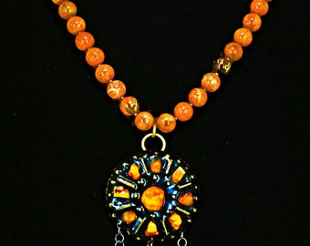 Russian Amber & Enamel Pendant with Fossilized Coral