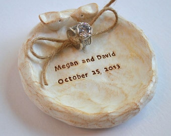 Ring pillow ring dish  ... personalized with your names and wedding date ... ring bearer bowl, handmade keepsake clay lovebird dish