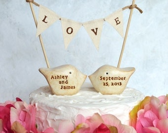 Personalized wedding cake topper and LOVE banner...Your names and wedding date, package deal...CUSTOM love birds and fabric banner included