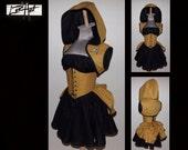 Commanding Officer Gold Steampunk Hoodie Shrug Waist Cincher Mini Skirt Bustle and Top by LoriAnn