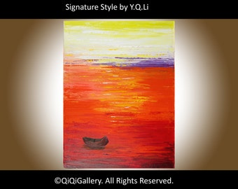 "Wall art, Boat Painting, red,yellow, purple, white, Original oil Seascape painting Canvas art wall decor ""Home Bound Sunset"" by qiqigallery"