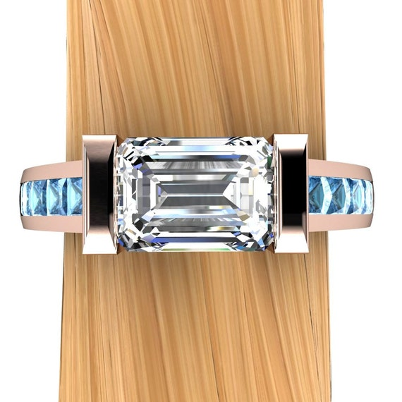Rose Gold Diamond Engagement Ring, Over 1 Carat Solitaire VS2 with Blue Diamond Accents - Free Gift Wrapping