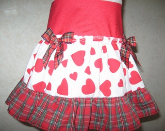 NEW Red,White,Black hearts,Tartan Check Frilly Skirt,Punk,,rock Emo,Lolita,All sizes,Goth,sequoia