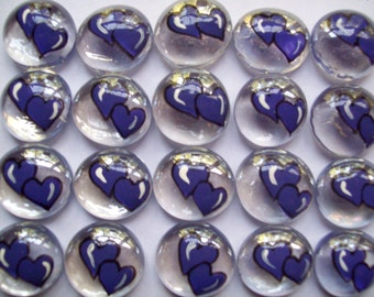 Hand painted glass gems party favors art  PURPLE WEDDING HEARTS