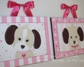 Pink Puppy dog Custom canvas 2 piece 8x10 set sign wall art girl painting doggie puppies brown tan white nursery stripes dots children decor