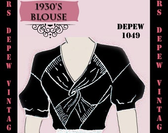 Vintage Sewing Pattern 1930's Blouse in Any Size Depew 1049 Draft at Home Pattern - PLUS Size Included -INSTANT DOWNLOAD-