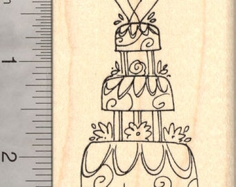 Wedding Cake Rubber Stamp, Three Tiers J21615 Wood Mounted