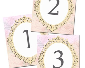 10 Table Number Cards- Romantic Vintage