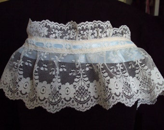 Lace neck Ruff and  with blue trim for a romantic date or a costume addition, wedding, victorian, renaissance