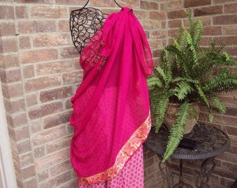 Chiffon Scarf-sarong-raspberry and gold morrocan design -Belly dance scarf--two sizes